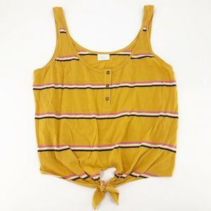 Abound Tie Front L Tank Top Yellow L